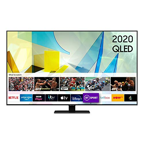 """Samsung 2020 85"""" Q80T QLED 4K HDR 1500 Smart TV with Tizen OS,CARBON SILVER"""