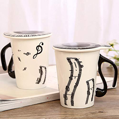 IRCATH retro mok koffie - mok cadeau - mok - creatieve keramische mok noot mark water mok paar toetsenbord mok met deksel koffiemok 300 ml