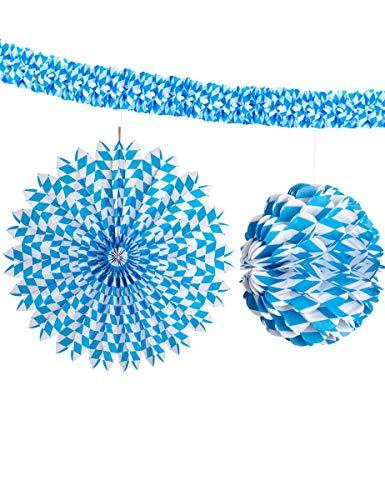 Widmann 3 décorations Bleues et Blanches Oktoberfest.