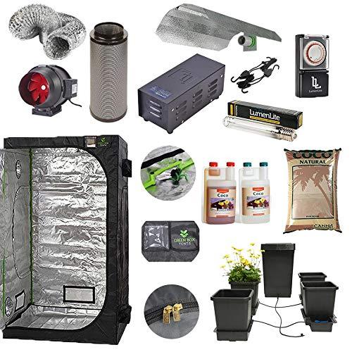 Green Box Complete Grow Tent Kit 120x120x200cm 4-Pot Hydroponic Autopot Self Watering System Canna Coco 600w Dual Spectrum Grow Light Kit