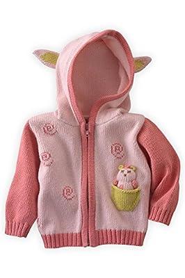 Joobles Organic Baby Cardigan Sweater - Cutie The Lamb (0-6 Mos) Pink