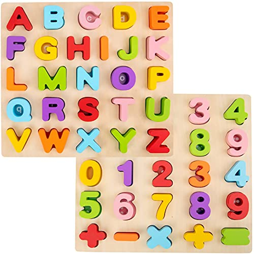 Alphabet Puzzle, WOOD CITY ABC Letter & Number Puzzles for Toddlers 1 2 3 Years Old, Preschool Learning Toys for Kids, Educational Name Puzzle Gift for Boys and Girls (2 Pack)