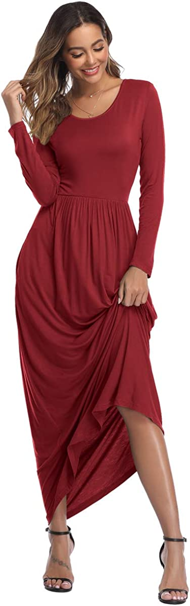 HAPYWER Damen Langarm Lange Kleider mit Taschen Lose Lässige Freizeit Damen Kleid Weihnachten Festliche Winter Party Ball Hochzeit Kleid Langarm - Weinrot