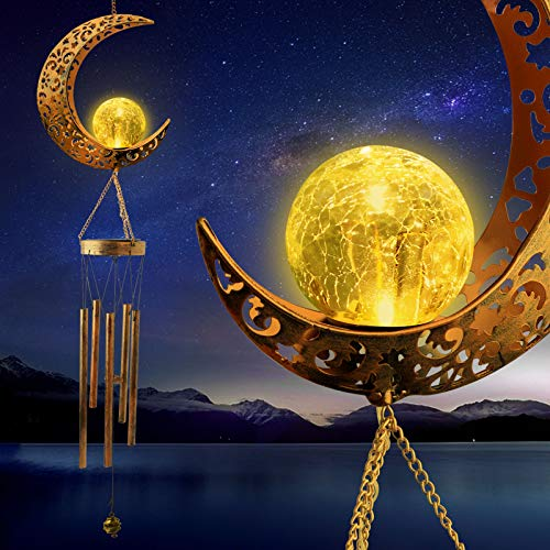 zhengshizuo Moon Crackle Glass Ball Wind Chimes Solar Moon Night Light Casting Shadows Luxurious Garden Decor Retro Copper Large Wind Bells Mom Birthday Gift Large Deep Tone Soft Music Wind Chimes