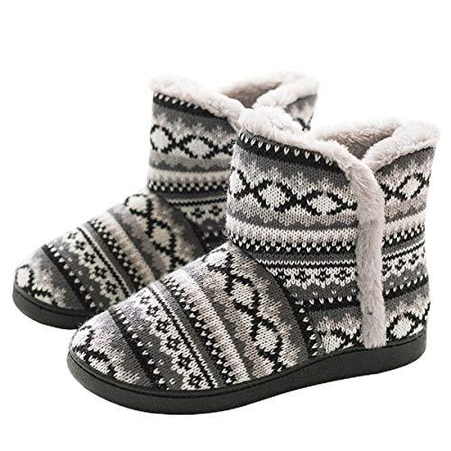 AONEGOLD Zapatillas de Casa para Mujer Bota Cálida Invierno Forro de Felpa Pantuflas Cómodo Antideslizante Botines De Punto para Interiores(Gris 2,Tamaño 39-40)