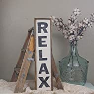 """Dozili Relax Sign Relax Wood Sign Spa Decor Vertical Wood Sign Bathroom Sign Bedroom Sign Distressed Wood Sign 6"""" x 20"""""""