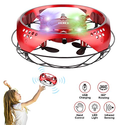 ETMURY Mini Drohne für Kinder UFO - Quadcopter mit LED Licht - Intelligente Flying Ball Infrarot Induktion UFO - Fliegendes Spielzeug Geschenke für Jungen Mädchen Indoor Outdoor Fliegender Ball (Rot)