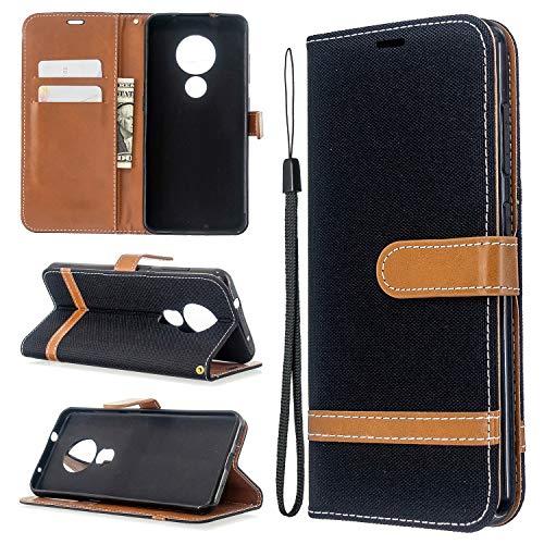 Snow Color Nokia 7.2 / Nokia 6.2 Hülle, Premium Leder Tasche Flip Wallet Case [Standfunktion] [Kartenfächern] PU-Leder Schutzhülle Brieftasche Handyhülle für Nokia7.2 / Nokia6.2 - COBFE030912 Schwarz