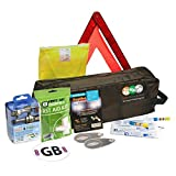 Family Motoring & Leisure 8 Piece European Travel Kit for Driving Abroad Quality Ultimate Safety Abroad European Travel Essentials storage bag & Emergency Roadside Breakdown Kit9