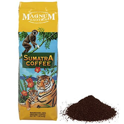 Magnum Exotics Sumatra Mandheling Coffee Blend, Ground, 1 Lb Bag - Dark Roast, Fresh Strong Arabica Coffee - Strong And Rich Flavor