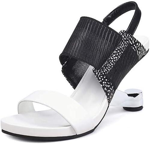 GHFJDO Sandales compensées pour Femmes, Chaussures Chaussures de Printemps et d'été pour Hommes,noir,36EU