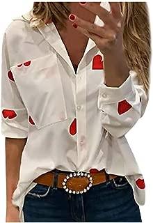 Gifts for Women,Women's Fashion Long Sleeve Slim Heart Printed Deep V-Neck Pocket Lapel Blouses