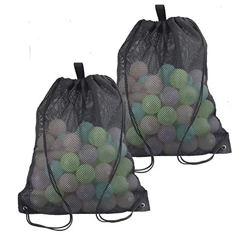 2 Pieces Mesh Drawstring Bag for Gym Laundry, Mesh Beach Bag for Toy and Beach finds, Mushroom Hunting Bag