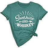 Sunshine and Whiskey T Shirt Women Funny Summer Drinking Drunk Sunset Tops Tee (Large, Green)