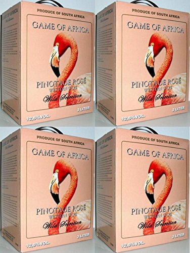4 x GAME OF AFRICA PINOTAGE ROSÉ Bag in Box 3L SÜDARFIKA WEIN Incl. Goodie von Flensburger Handel
