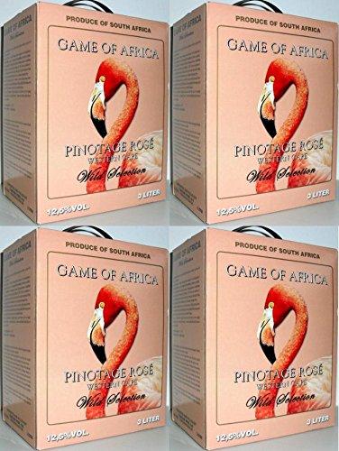 4 x GAME OF AFRICA PINOTAGE ROSÉ Bag in Box 3L SÜDARFIKA WEIN Incl. Goodie von Flensburger Handel