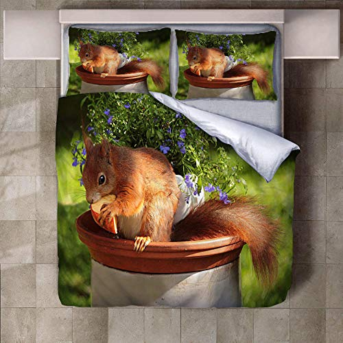 PERFECTPOT Super King Duvet Cover Set Squirrel Flower 3D Printed Bedding Sets in Polyester, 1 Quilt Cover with 2 Pillowcases for Boys Girls Adults, 260 x 220 cm