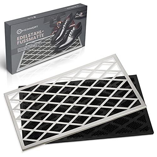 HEIMWERT Felpudo prémium para exterior de acero inoxidable, marco de acero inoxidable extraíble, alfombrilla de goma antisuciedad, fácil de limpiar, ideal para entradas de casa, 58 x 38 cm