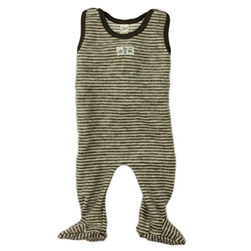 Lilano Baby Strampler mit Fuß, Größe 50, Farbe Braun/Natur, Wollfrottee-Plüsch 100% kbT