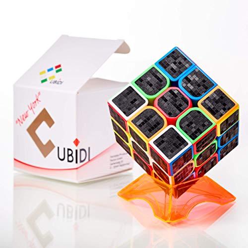 CUBIDI® Cubo Mágico 3x3 - Tipo New York - con Pegatina de Carbono – Fidget Toy 3x3x3 con Características Optimizadas de Speed Cubing - Juguetes Sensoriales para Anti Estrés - para Niños y Adultos