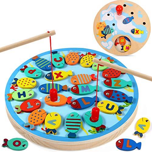 Lewo 2 en 1 Grande Juego de Pesca Alfabeto Magnético de Madera Carta de Pesca Juguetes para 3 4 5 Años de Edad Niñas Niños Pequeños Cumpleaños Aprendizaje Educación Juguetes