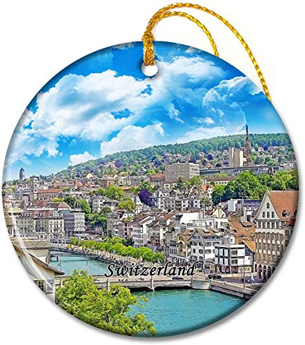 Switzerland Ornaments Switzerland Limmat Zurich Tree Pendant 2.8 inch Ceramic Round Holiday Ornament Pandent for Family Friends