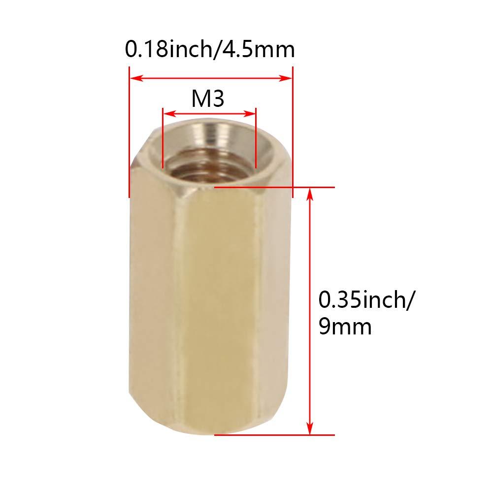 MroMax M3 Brass Hex Standoff Spacer Screws PCB Pillar 100 Pcs