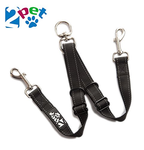 2PET Double Dog Leash Tangle Free Adjustable Leash Coupler - Ideal Dog Leash for 2 Dogs Extension - Forget About Messy Tangled Walks of Dogs - Ebony Black