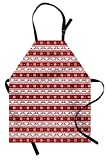 Ambesonne Christmas Apron, Xmas Winter Themed Deers Snowflakes in Nordic Pattern Borders and Lines Art, Unisex Kitchen Bib with Adjustable Neck for Cooking Gardening, Adult Size, White Ruby