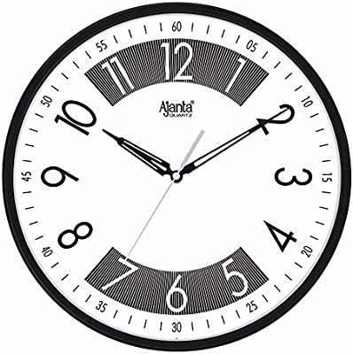 Ajanta Plastic Designer Sweep Movement 12 Inches Wall Clock for Home (Black)