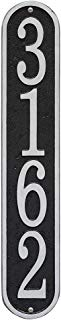 """Whitehall Personalized Cast Metal Address Plaque - Custom House Number Sign - Vertical Oval (3.5"""" x 19"""") - Black with Silver Numbers"""