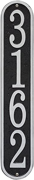 Whitehall Personalized Cast Metal Address Plaque Custom House Number Sign Vertical Oval 3 5 X 19 Black With Silver Numbers