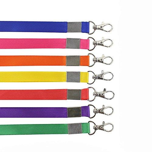 10 correas de cuello lisas de 1,5 cm de ancho con hebilla de langosta, correa de cuello único para el gimnasio, llaves, etiquetas, tarjetas de identificación (color aleatorio)