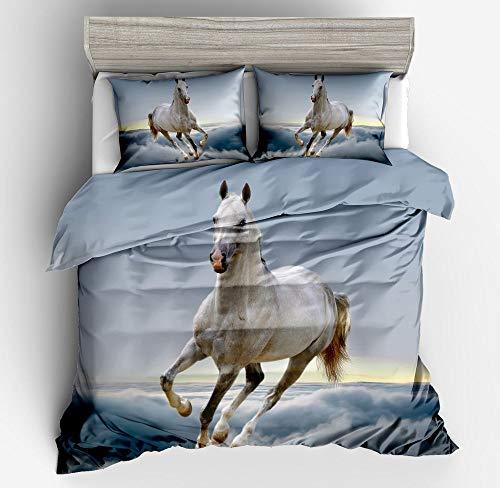 Hongma Bettwäsche-Sets 1x Bettbezug 135 * 200/160 * 220/200 * 200CM 2X Kissenbezug 80 * 80CM Tier Pferd Stoffdruck Muster für Bett Kissen MEHRWEG GER King(200 * 200) Square Pillowcase NYY-215
