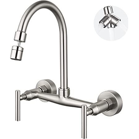Airuida Wall Mount Kitchen Sink Faucet Brushed Nickel 8 Inch Center Double Cross Handles 360 Degree Swivel Spout Kitchen Mixer Tap Commercial…