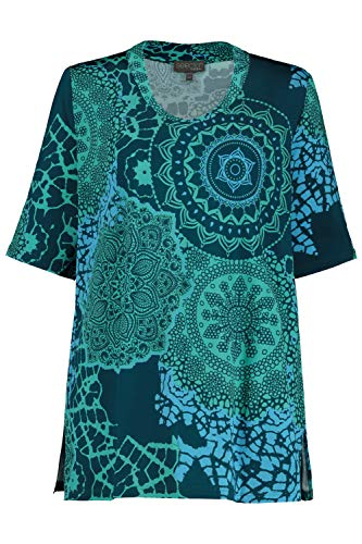 Ulla Popken Damen große Größen Shirt, Classic, Slinky mit Mandala-Design, Halbarm, Selection karibikgrün 46/48 747600 41-46+