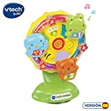 VTech- Noria Musical Sonajero Interactivo Que Incluye una Ventosa para pegarlo en una superfície Lisa y Plana o adherirlo a la Trona, enseña Vocabulario, Animales y Colores (3480-165922)