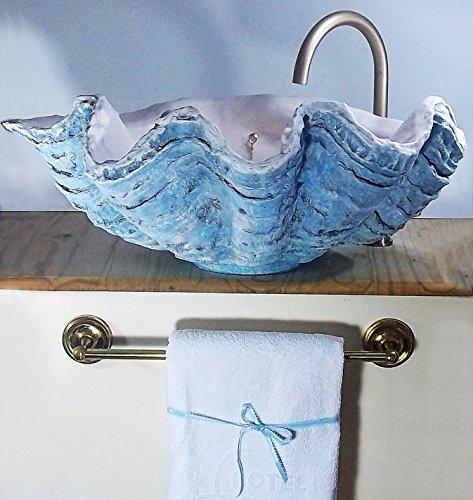 LittleGems Giant Muschel Waschbecken Waschbecken Aufsatzwaschbecken Handskulptur azurblau 70 cm breit Chrom/Gold Beschläge