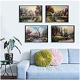 impreso en lienzo Beautiful Scenery Wall Art Canvas Painting Set Poster e impresión para sala Imagen decorativa 20x25cm (8'x10') x4 Sin marco