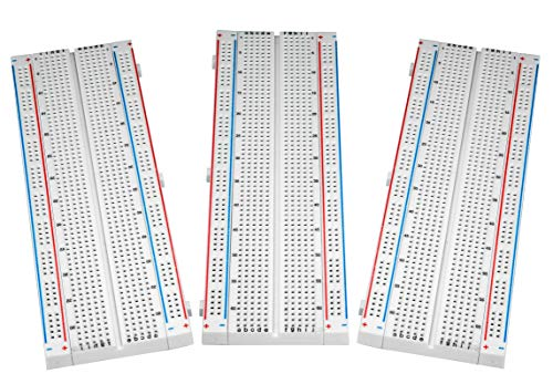 Breadboard Solderless Prototype PCB Board – ALLUS BB-017 (3pcs) 830 Pin with 4 Power Rails and Double Sided Tape for Raspberry Pi and Arduino