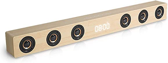 TV Soundbar Bluetooth Speaker, 30W Wooden Sound Bar, HIFI Stereo, with Remote Control Support AUX/HDMI/Clock Display, Suitable for Home Theater,Yellow