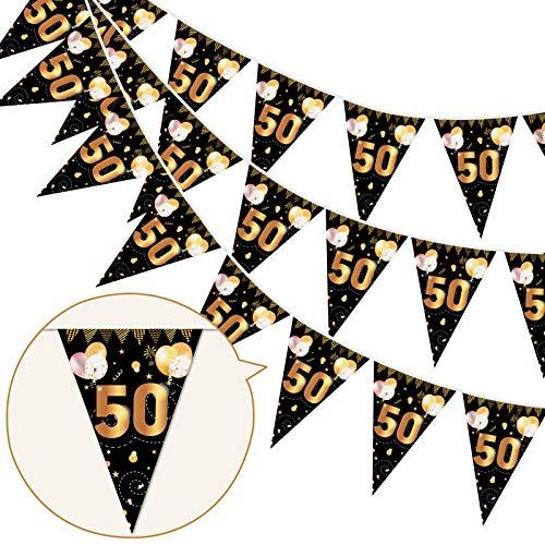 """HOWAF 50. Geburtstag Banner Girlande 50"""" Wimpel Girlande Bunting zum Aufhängen Wimpelkette für Frau Mann 50. Geburtstag Party Dekoration Geburtstags Deko Schwarz Gold"""