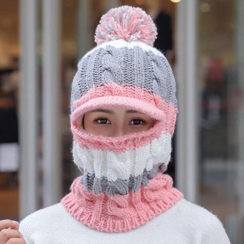 NEWELLYY Beanie Baseball Cap mit abnehmbarem,Warmer Gesichtsschutz aus Wolle, Winddichte Ohrenschützer-F,Schal Set Warme Strickmütze Dicker Strick