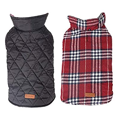 Morezi Cozy Waterproof Windproof Reversible British style Plaid Dog Vest Winter Coat Warm Dog Apparel for Cold Weather Dog Jacket for Double sided available - M - Red