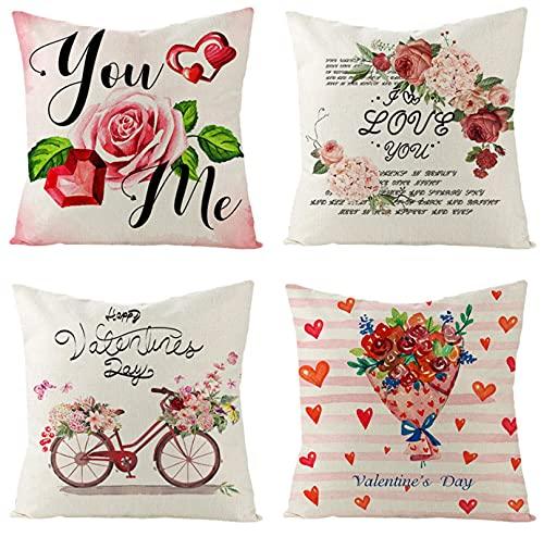 KaiXINSun Throw Pillow Fundas Paquete De 4 18X18 Pulgadas Funda De Almohada Decorativa Cuadrada Casa Sofá Cubierta Cremallera Invisible 45X45Cm Melocotón Corazón Flor De Amor