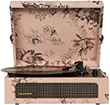 Crosley CR8017A-FL Voyager Vintage Portable Turntable with Bluetooth Receiver and Built-in Speakers, Floral