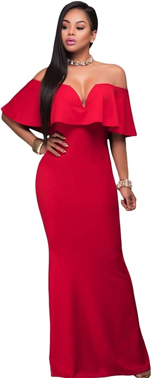 Women's Evening Dress Women V Neck Short Sleeve Package Hip Party Solid color Evening Dresses Slim Fit Night Dress (color   Red, Size   M)