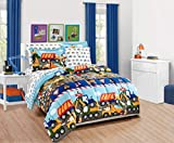 Fancy Linen Boys Comforter Set Under Construction Zone Trucks Tractors Light Blue Red Yellow Dark Blue # Construction (Full Comforter)