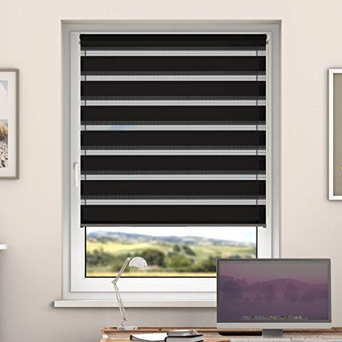DESWIN Doppelrollo Klemmfix, Duo Rollos ohne Bohren für Fenster & türen 125 x 160 cm SCHWARZ - (KlemmFix Duorollo mit Kettenzug, Klemmhaltern, Haltern zum Schrauben)