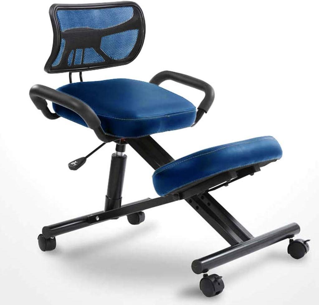 XLGJCWQY Chaises à Genoux Chaises de Bureau ergonomiques Tabouret orthopédique - Réglable en Hauteur, avec Dossier avec poulie (Couleur: Bleu) Blue